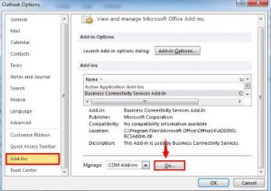 outlook not implemented disable add-ins